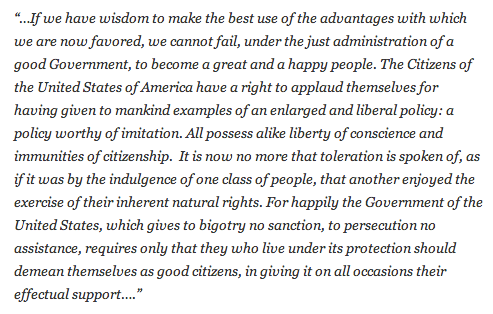 George Washington on religious freedom