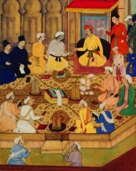 Painting of Akbar the Great with the Jesuits