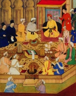 Akbar the Great welcoming Jesuit missionaries to his court
