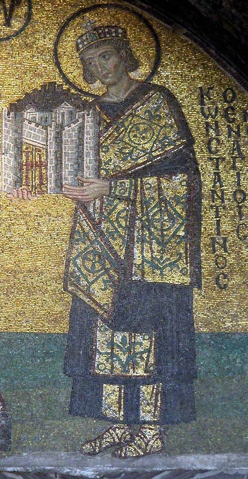 Saint Constantine mosaic in Hagia Sophia