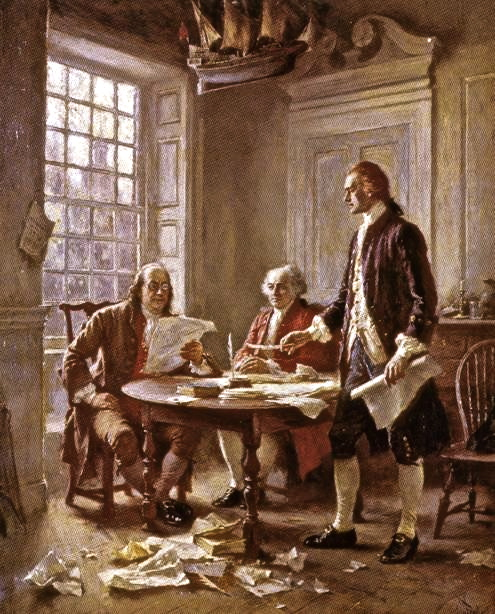 Benjamin Franklin, John Adams, and Thomas Jefferson drafting The Declaration of Independence