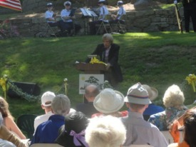 David speaks at a service held on the 10th anniversary of the 9/11 attacks at the McCourt Memorial Garden. Photo credit: M. Dirk Langeveld