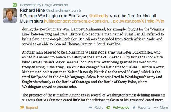 Tweet about Bill O'Reilly and anti-Muslim slurs
