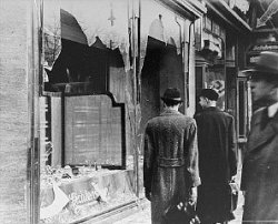 "Jewish-owned shops attacked on ""Night of Broken Glass"" - Source: US Holocaust Memorial"