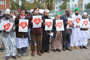 Mawlid Interfaith Peace Walk 2014. Center (in black robe) Sheikh Muhammad Umar Al-Qadri. To his left, Craig Considine (Source: Al Mustafa Islamic Educational and Cultural Cetnre)
