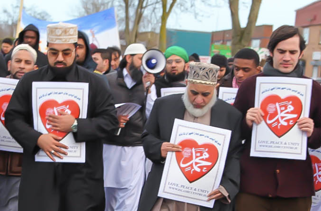 Shaykh Dr. Muhammad Umar Al-Qadri (Left) and Dr. Craig Considine (Right) marching in the Al-Mustafa Islamic Centre Ireland's 4th Annual Peace Walk in Dublin, Ireland (2/26/13).