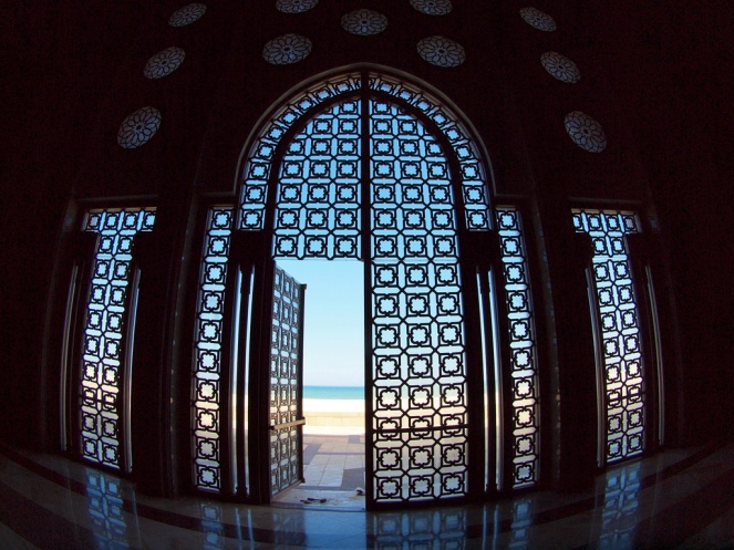 A door facing the sea is seen open as it was left by workers of the Hassan II Mosque in Casablanca, Morocco (@torrenegra).